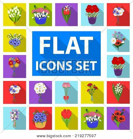 A bouquet of fresh flowers flat icons in set collection for design. Various bouquets vector symbol stock illustration.