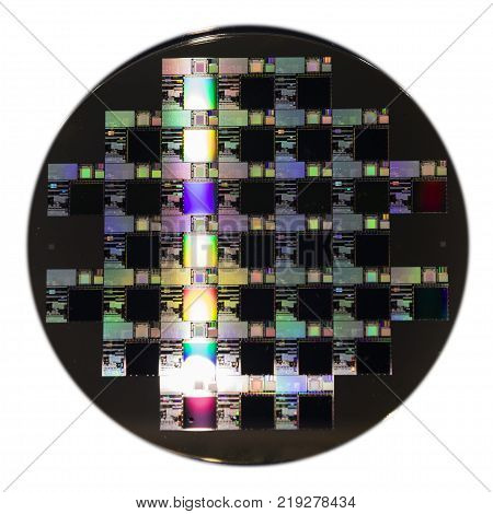a colorful Semiconductor wafer disk ; close up
