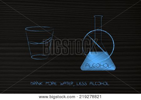 drink more water concept: glass next to crossed out bottle of alcohol