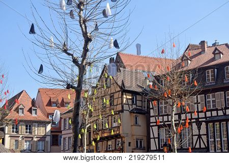 Square with the typical and traditional half-timbered houses of the Alsace region of France