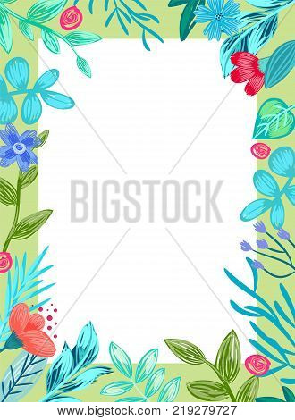 Frame with collection of flowers and leaves of different types, empty space inside, in centerpiece for writing information vector illustration