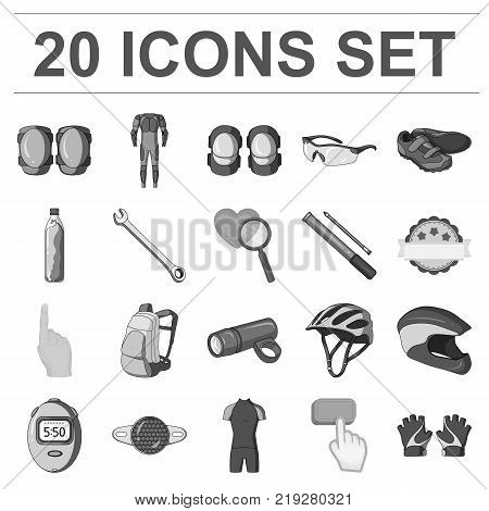 Bicycle outfit monochrome icons in set collection for design. Bicycle and tool vector symbol stock  illustration.