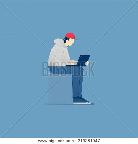 A young guy in hoodie and baseball cap sitting with laptop on his laps and working. Vector illustration of coworking. Isolated on blue background