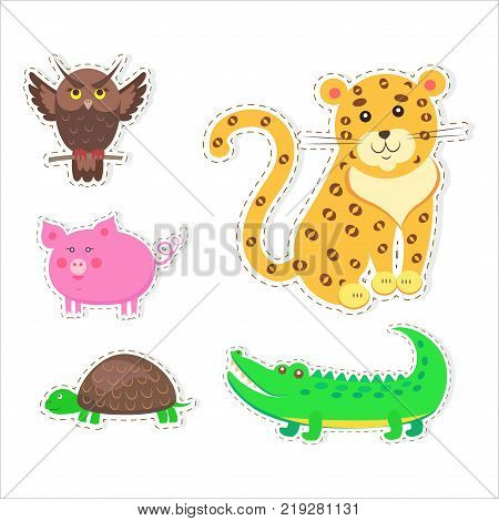 Stickers and icons set of cute wild and domestic animals - funny owl, leopard, turtle, crocodile, and pig isolated flat vectors. Bird, mammals and reptiles illustrations outlined with dotted line
