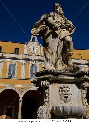 The statue of Moses in the inner courtyard of the Archbishop's Palace, Palazzo dell'Arcivescovado in Pisa, Italy.