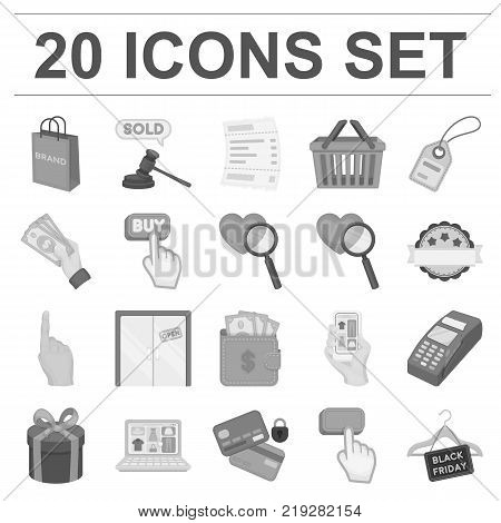 E-commerce, Purchase and sale monochrome icons in set collection for design. Trade and finance vector symbol stock  illustration.