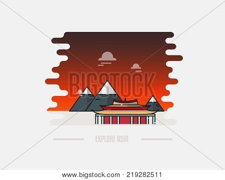Korean Gyeongbokgung palace in Seoul vector illustration. Travel to South Korea concept banner background