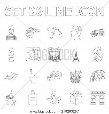 Country France outline icons in set collection for design. France and landmark vector symbol stock  illustration.