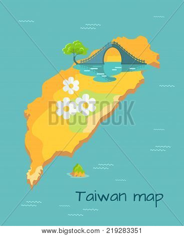 Taiwan Map with big white camomile and New Moon Bridge on the island in sea. Chinese island in Pacific Ocean vector illustration. Famous place with amazing unusual architectual construction.