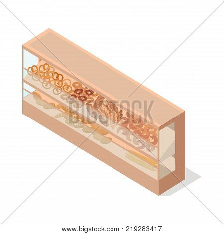 Pastries in shop showcase isometric vector illustration. Baked products on supermarket shelves 3d model isolated on white background. Grocery store equipment isometry for game, app, icon, web design