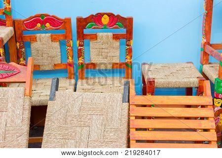 Jute and wooden furnitures artworks of handicraft Handicraft Fair in Kolkata - the biggest handicrafts fair in Asia.