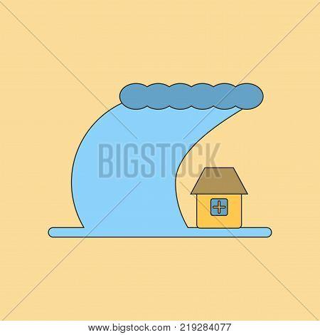 flat icon on stylish background tsunami city