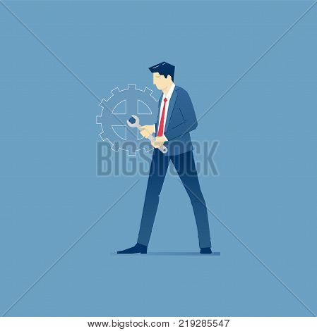 Businessman is fixing a giant cog as a business machine with a wrench. Vector illustration of fixing firm problem. Isolated on blue background