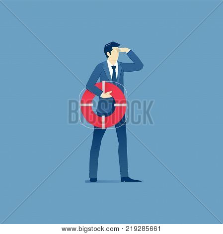 Businessman holding a life preserver and looking forward with the hand on forehead.  Vector illustration of company rescue mission. Isolated on blue background