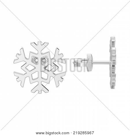 3D illustration isolated white gold or silver snowflake stud earrings on a white background