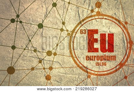 Europium chemical element. Sign with atomic number and atomic weight. Chemical element of periodic table. Molecule And Communication Background. Connected lines with dots.