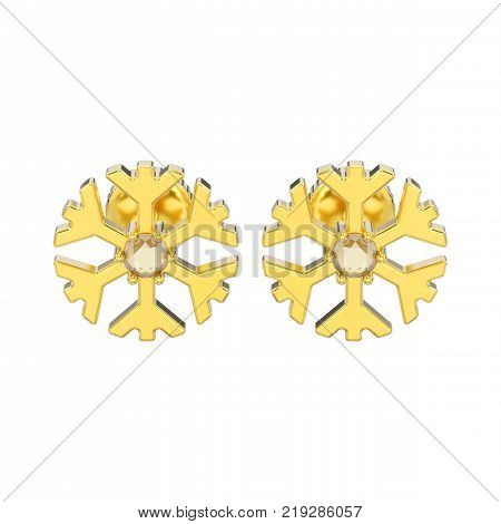 3D illustration isolated yellow gold diamond snowflake stud earrings on a white background
