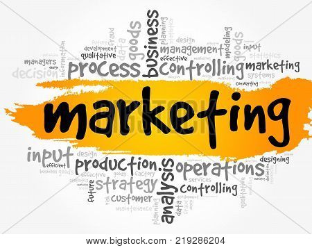 Marketing word cloud collage business concept background