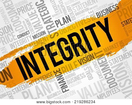Integrity word cloud collage business concept background