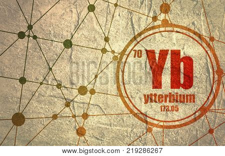 Ytterbium chemical element. Sign with atomic number and atomic weight. Chemical element of periodic table. Molecule And Communication Background. Connected lines with dots.