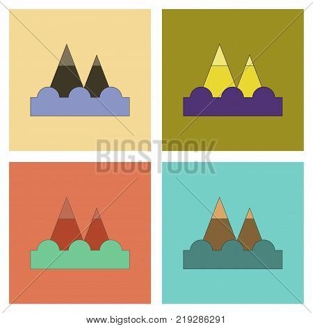 assembly of flat icons natural tsunami mountains