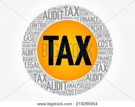 TAX word cloud collage business concept background