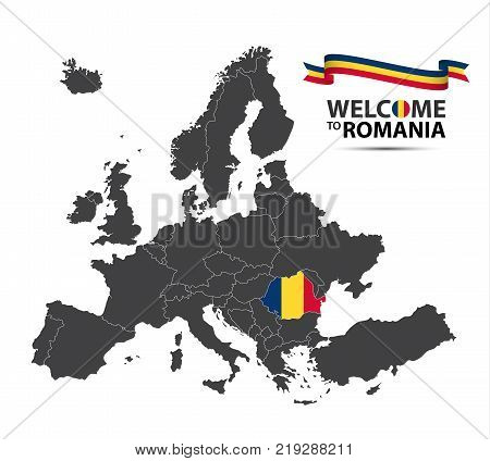 Vector illustration of a map of Europe with the state of Romania in the appearance of the Romanian flag and Romanian ribbon isolated on a white background