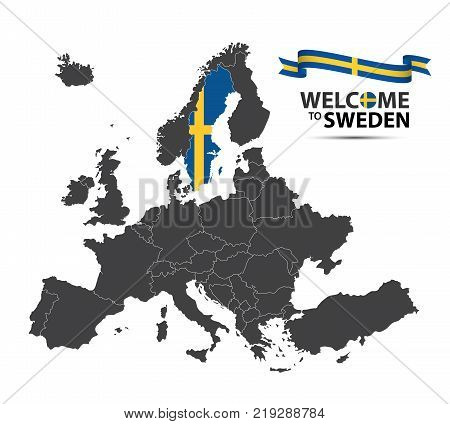 Vector illustration of a map of Europe with the state of Sweden in the appearance of the Swedish flag and Swedish ribbon isolated on a white background