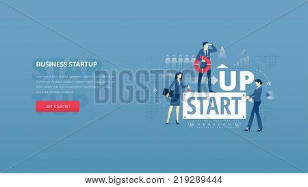 Vector illustrative hero banner of business startup. Project launch hero website header with young men and women characters around word 'STARTUP' over digital world map