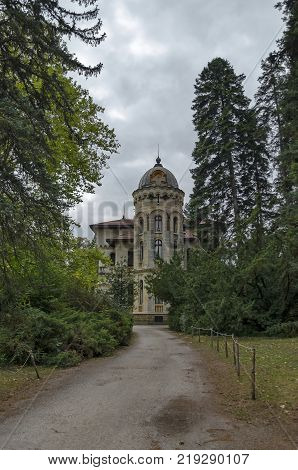 Fragment of restored Vrana Palace  in National monument of old landscape architecture Park  in former time   royal residence on the outskirts of Sofia, Bulgaria, Europe