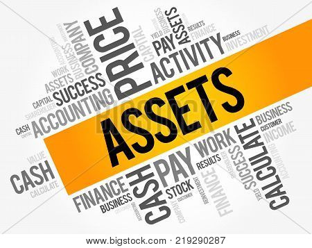 Assets word cloud collage business concept background