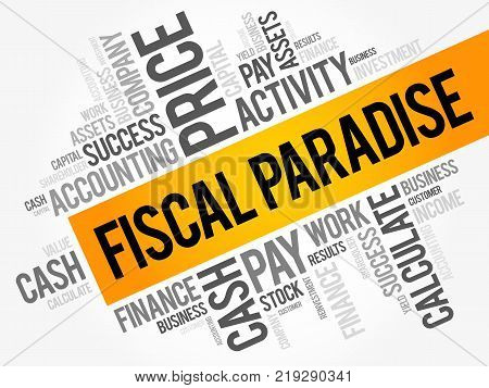 Fiscal Paradise word cloud collage business concept background