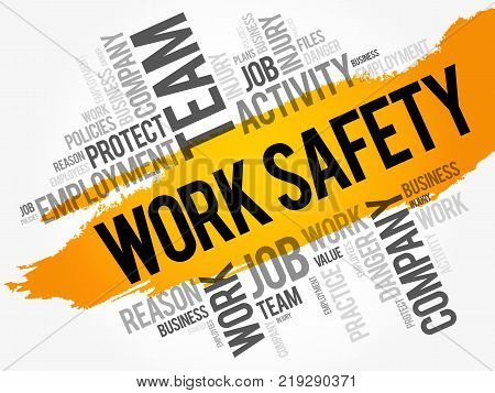 Work Safety Word Cloud Collage With Terms Such As Employee Company Business Concept Background