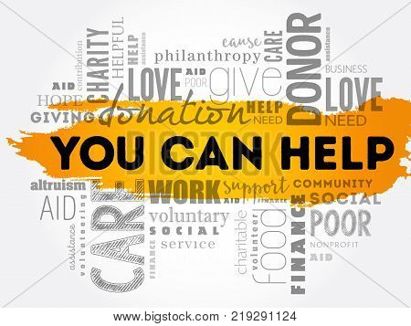 You can help word cloud collage business concept background