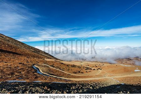 Teide National Park, Tenerife, Canary Islands colorful soil of the Montana Blanca volcanic ascent trail.