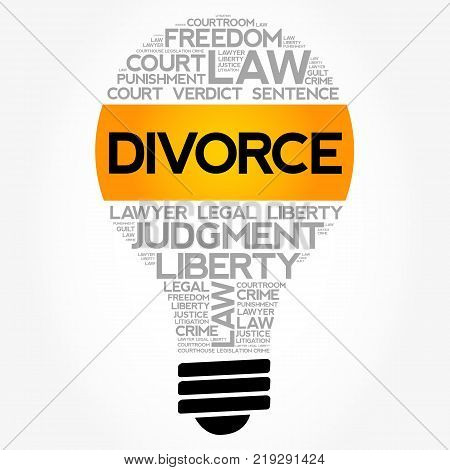 Divorce bulb word cloud collage law concept background