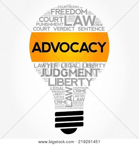 Advocacy Bulb Word Cloud Collage Law Concept Background