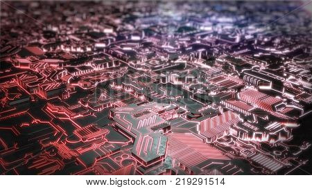 Futuristic Creative Sci-FI Glowing Background. 3D rendering