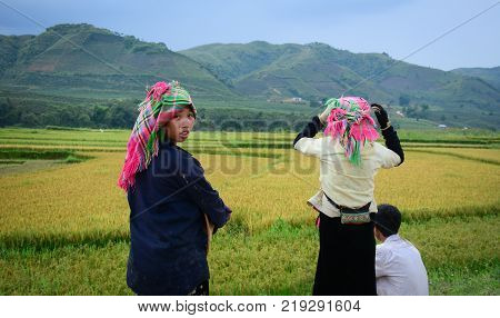Sapa Vietnam - May 29 2016. Hmong women standing on field in Sapa Vietnam. Sapa is a frontier township and capital of Lao Cai Province in north-west Vietnam.