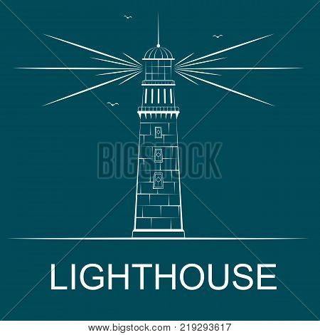 Lighthouse concept with space for text in simple style. Lighthouse logo with light beams clouds and gulls silhouettes on blue background sea navigation vector illustration.