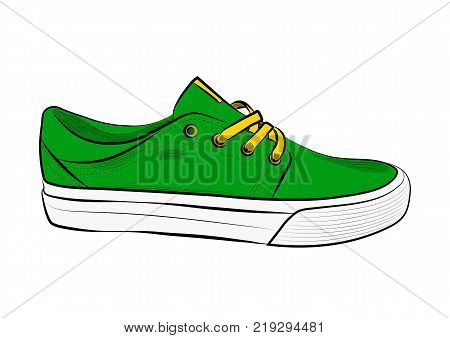 Sketch of sport shoes, sneakers for summer. Vector stock illustration. Sport wear for women.