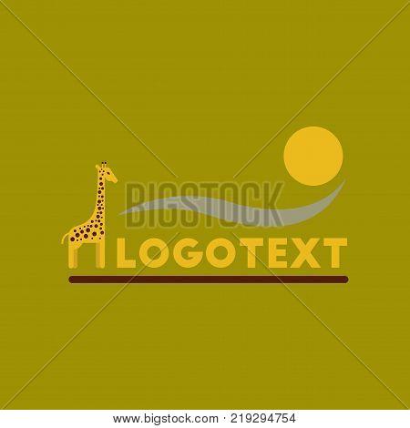 flat icon on stylish background giraffe logo