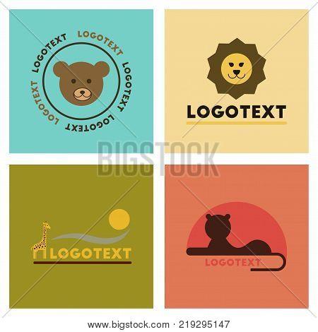 assembly of flat icons nature logo bear lion giraffe