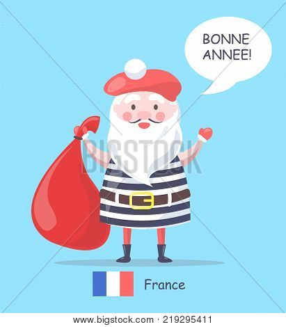 France and Santa Claus placard, man with white beard and moustaches holding red bag and wearing striped costume, icon of flag vector illustration
