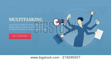 Vector banner template of a multitasking female business character with six hands, business items in each. Vector concept for internet banners, social media banners, headers of websites, print design and more