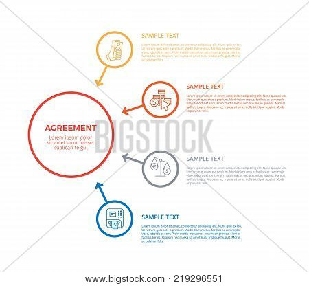 Agreement infographic poster representing connection of icons of atm, hand holding money, scales and title with sample text on vector illustration