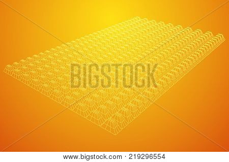 Wireframe model of sound proof coverage in music studio with soundproofing walls. Vector illustration