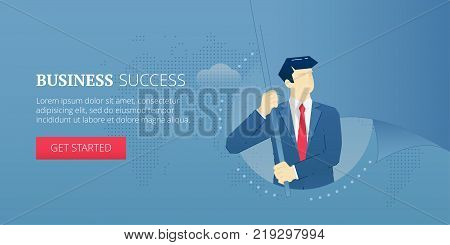 Vector banner template of businessman character holding a big flaunting metaphoric flag. Vector concept for internet banners, social media banners, headers of websites and more