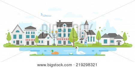 Cityscape with a pond - modern flat design style vector illustration on white background. Lovely district with small buildings, trees, church, pond with a swan and a duck. An airplane in the sky