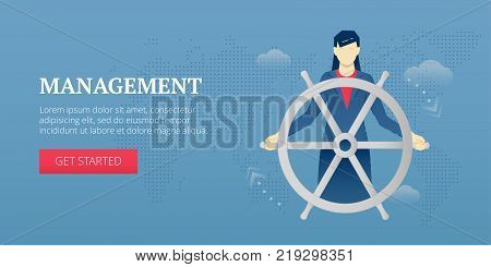 Vector banner template of a business woman holding a helm. Vector concept for internet banners, social media banners, headers of websites, print design and more